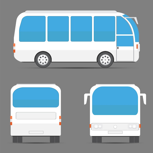 Views of white bus Premium Vector