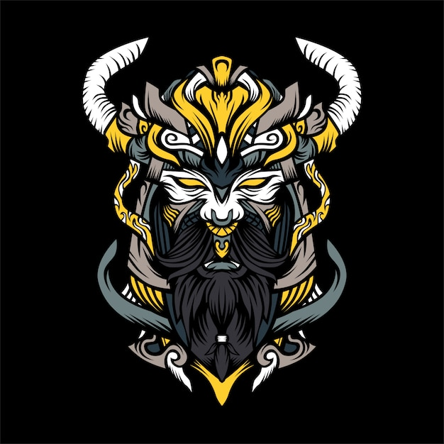Viking artwork illustration Premium Vector
