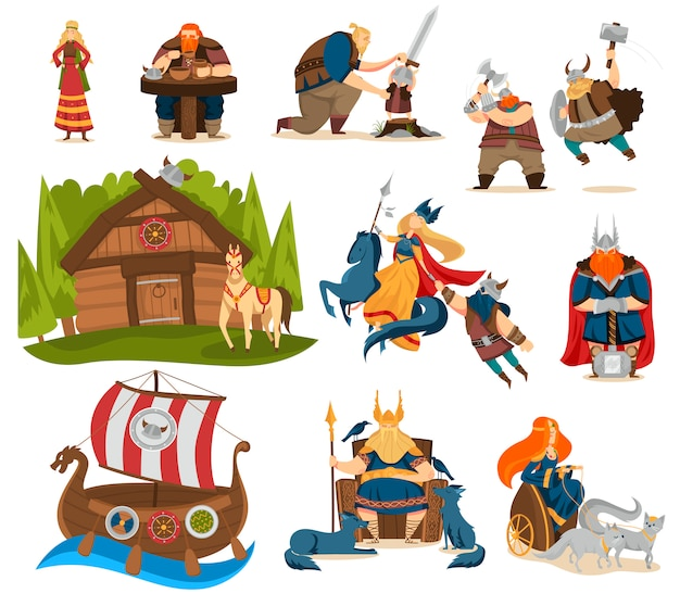 Viking cartoon characters and gods of norse mythology, people vector illustration Premium Vector