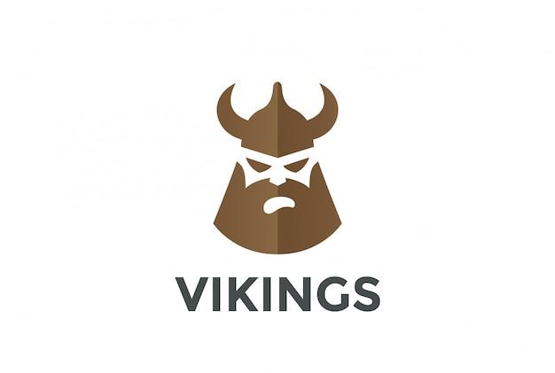 Testa di vichingo in casco silhouette logo. stile spazio negativo. Vettore gratuito