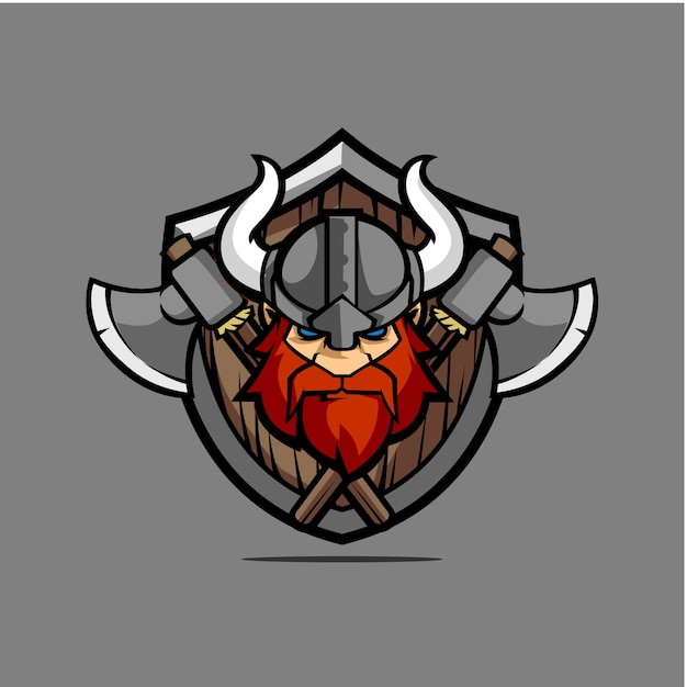Viking head shield with weapon Vector | Premium Download