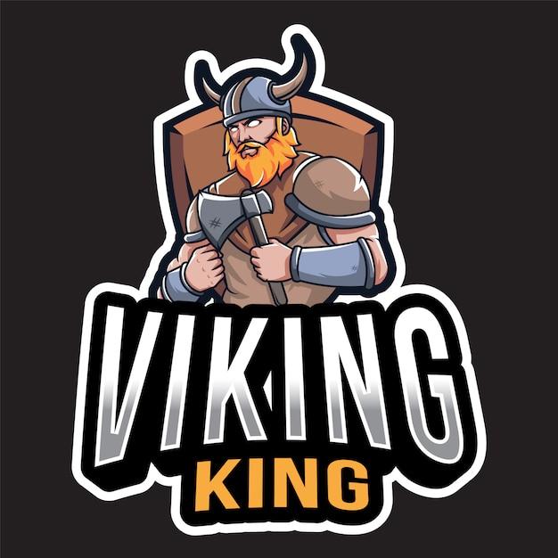 バイキングキングのロゴのテンプレート Premiumベクター