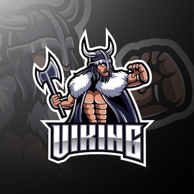 Viking mascot gaming logo Premium Vector