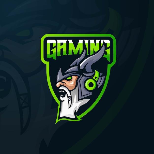 Вектор дизайна логотипа талисмана викинга с современным стилем концепции иллюстрации для печати значка, эмблемы и футболки. Premium векторы
