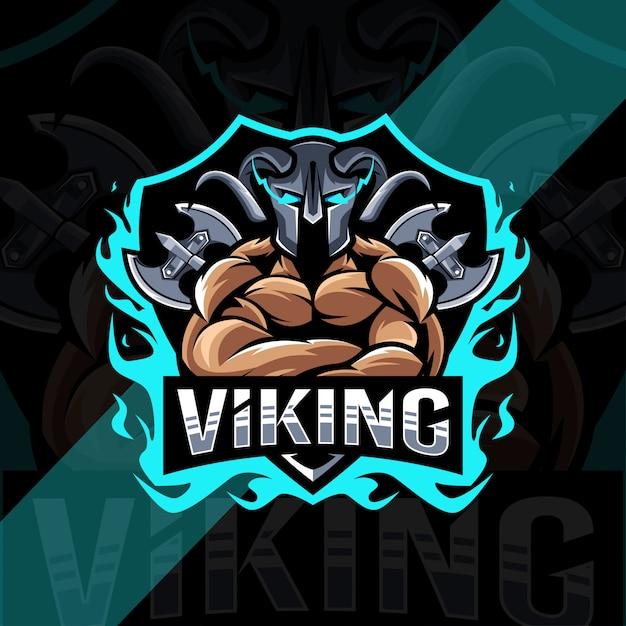 Шаблон логотипа талисмана викинга Premium векторы