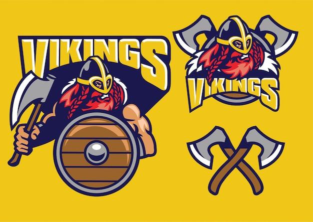 Viking mascot set with axes and shield Premium Vector