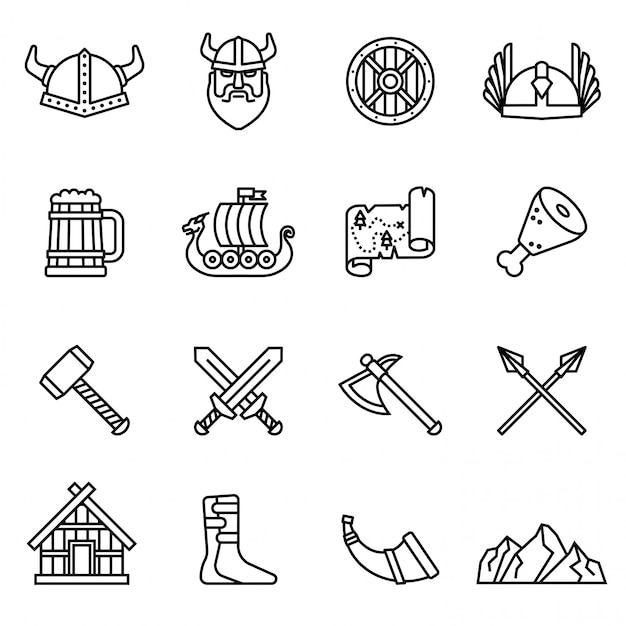 Viking nordic icon set with white background. thin line style stock vector. Premium Vector