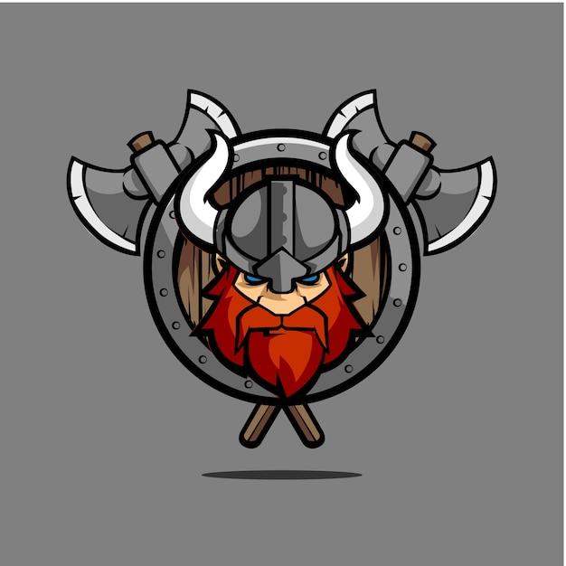 Viking round emblem shield Vector | Premium Download