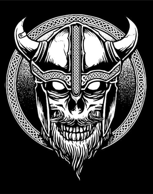 Viking skull vector Premium Vector