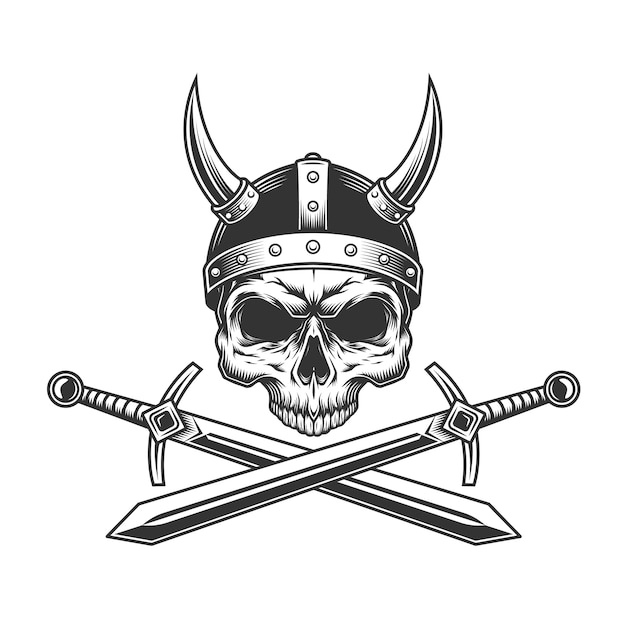 Viking skull without jaw in helmet Free Vector