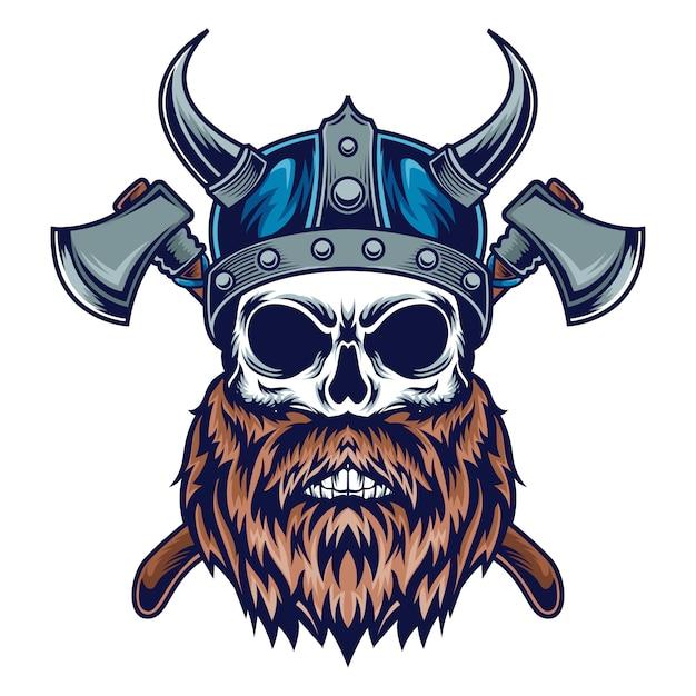 Viking skull Premium Vector