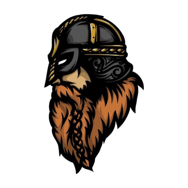 Viking soldier head look side Premium Vector