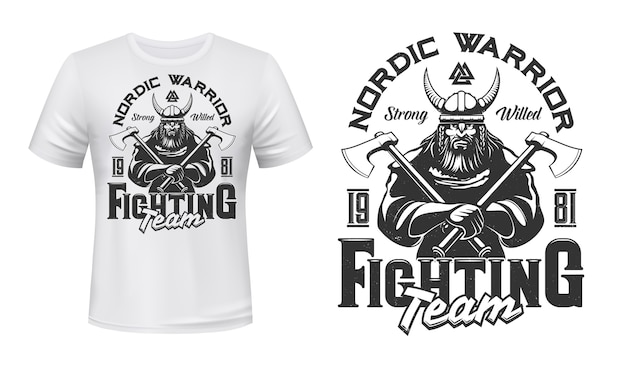 Viking warrior mascot t-shirt print  template. brutal, bearded viking in armor, horned helmet, holding battle axes in hands. sports team or club emblem, apparel custom  print Premium Vector