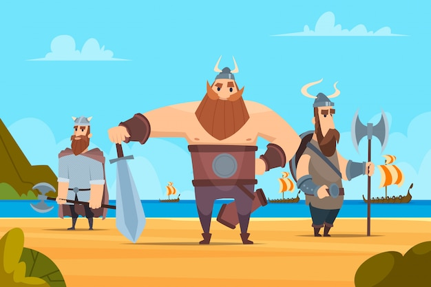 Viking warriors background. medieval authentic military characters norwegian people vector cartoon landscape Premium Vector