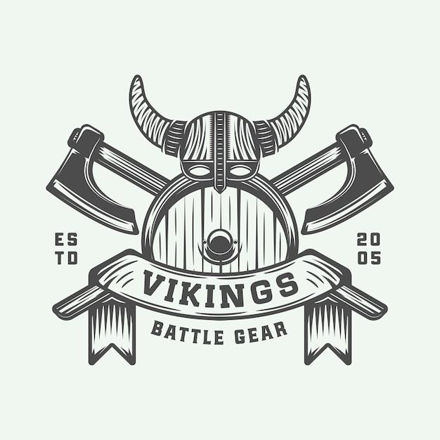 Vikings motivational logo Premium Vector