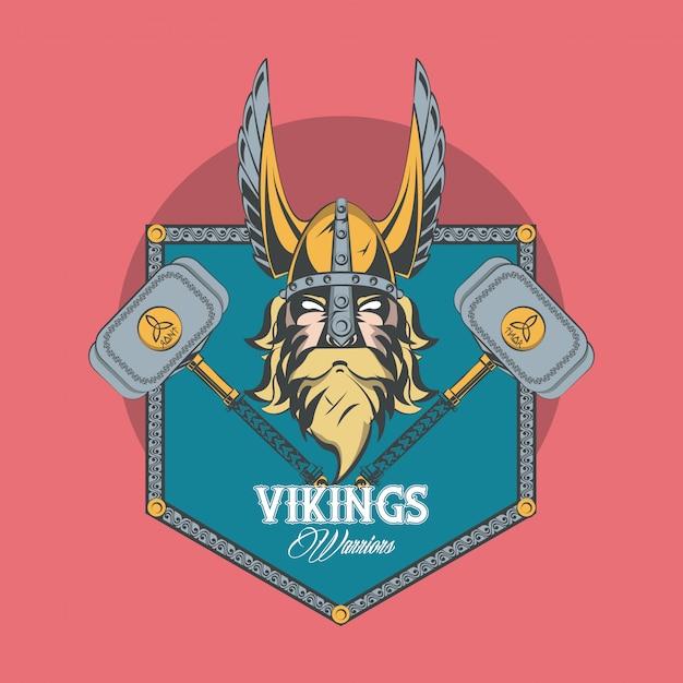Vikings warriors printed tshirt Free Vector