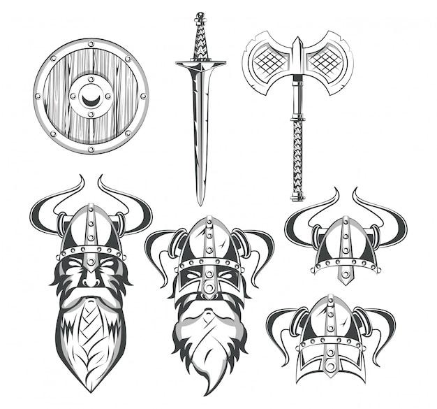 Vikings warriors set of drawings Free Vector