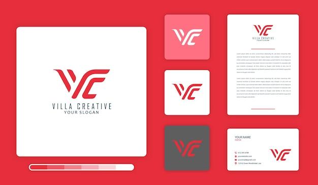 Villa creative logo design template Premium Vector
