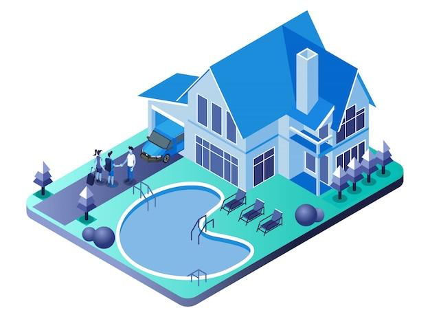 ヴィラ-ホームステイ、ゲストと握手するホスト付きのスイミングプール-等角投影図 Premiumベクター