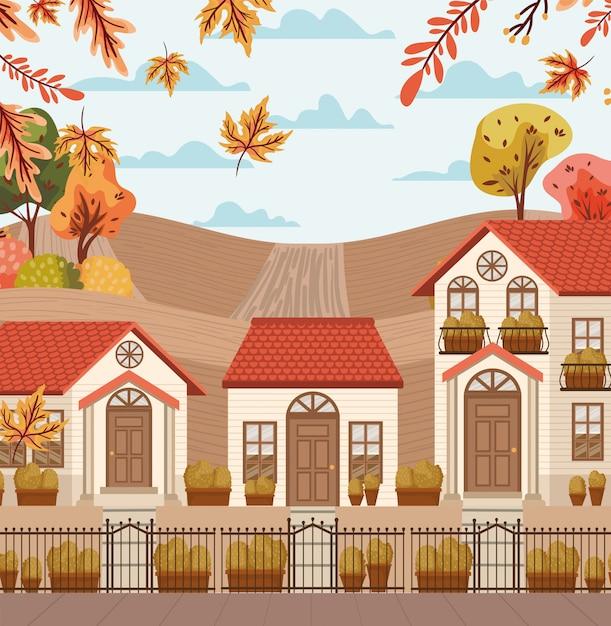 Village in autumn background Premium Vector