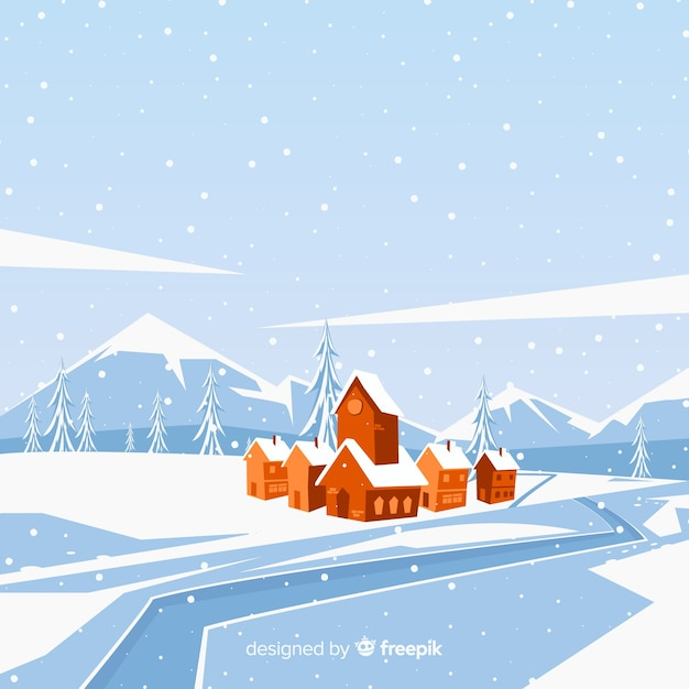 Village by the river winter illustration Free Vector