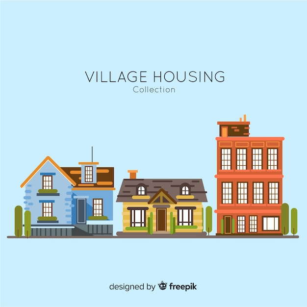 Village housing collection Free Vector