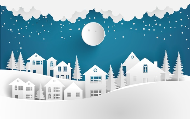village in winter landscape background vector premium download rh freepik com winter vector background free winter vector alphabet with snow