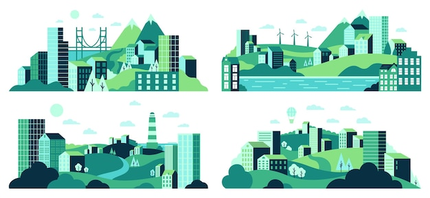 Village landscape. minimalist town views, city house district, daytime landscape with buildings, trees and hills  illustration set. town and village landscape view, house building Premium Vector