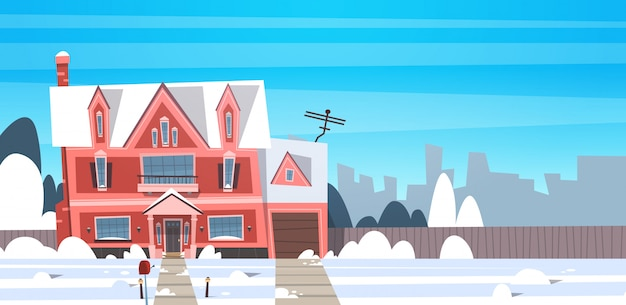 Village winter landscape house building with snow on top city or town suburb street Premium Vector