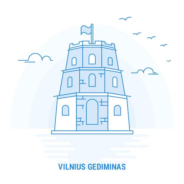 Vilnius gediminasブルーランドマーク Premiumベクター