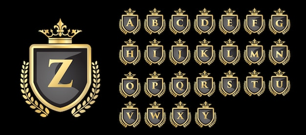 Vinatge royal and luxury golden logo set with a to z initial letter Premium Vector