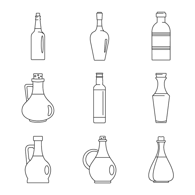 酢瓶のアイコンを設定 Premiumベクター