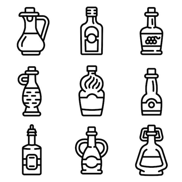 酢のアイコンを設定します。分離されたwebデザインのための酢ベクトルアイコンのアウトラインセット Premiumベクター