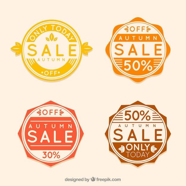 Vintafe set of autumn sale badges