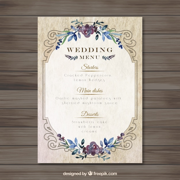 Vintag wedding menu template Vector Free Download