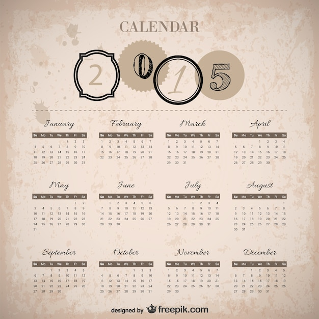 Calendar Vintage 2015 : Vintage calendar vector free download