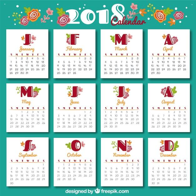 Vintage 2018 calendar template