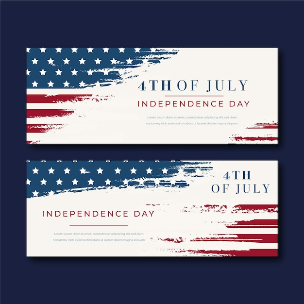 Vintage 4th of july independence day banners Premium Vector