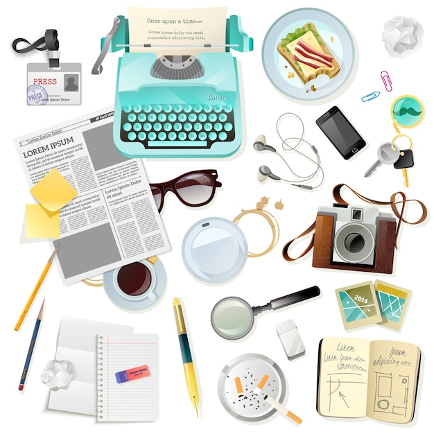 Vintage accessories for journalist writer typewriter Free Vector