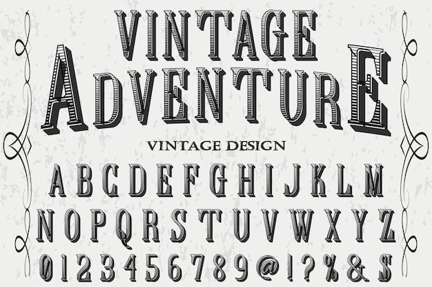Vintage adventure lettering label design Premium Vector