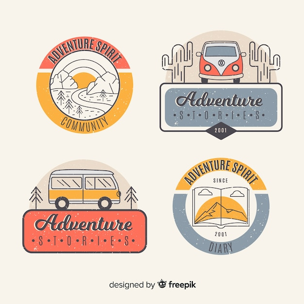 Vintage adventure logo collection Free Vector
