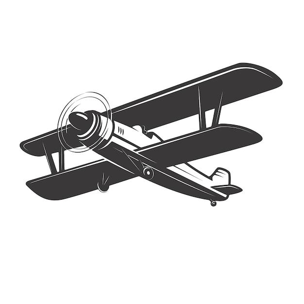 白い背景の上のヴィンテージ飛行機のイラスト。ロゴ、ラベル、エンブレム、記号の要素。図 Premiumベクター