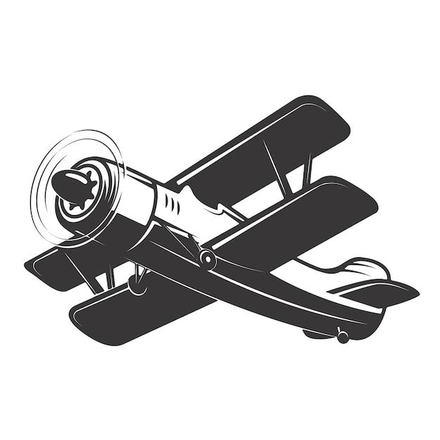 Vintage aeroplane illustration  on white background.  elements for logo, label, emblem, sign.  illustration Premium Vector