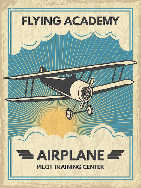 Винтажный плакат самолета. иллюстрация. ретро баннер с самолетом летать Premium векторы