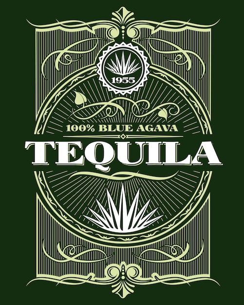 Vintage alcohol tequila drink bottle label Vector ...