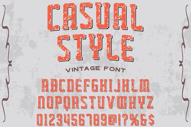 Vintage alphabet label design casual style Premium Vector