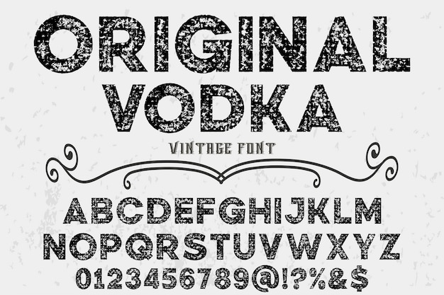 Vintage alphabet label design orginal vodka Premium Vector