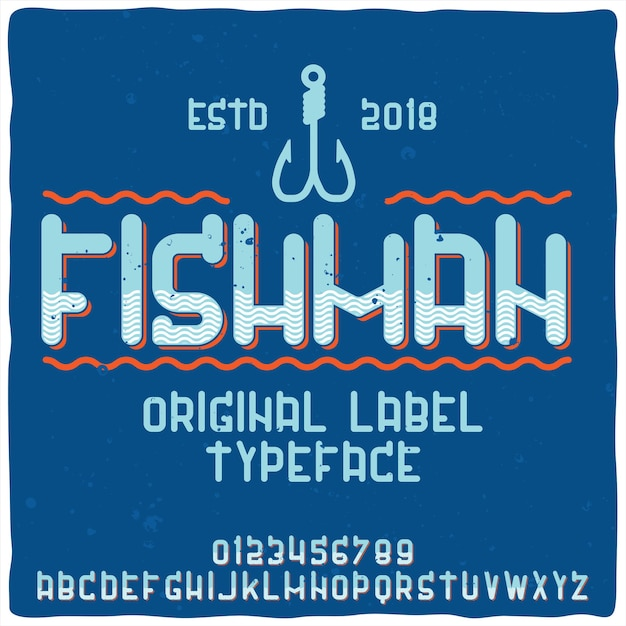Vintage alphabet and logo typeface named fishman. Free Vector