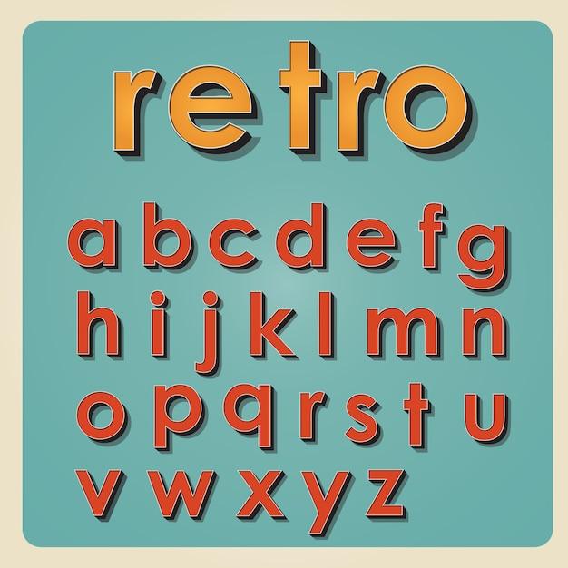 vintage alphabet retro type font 3d letters vector premium download