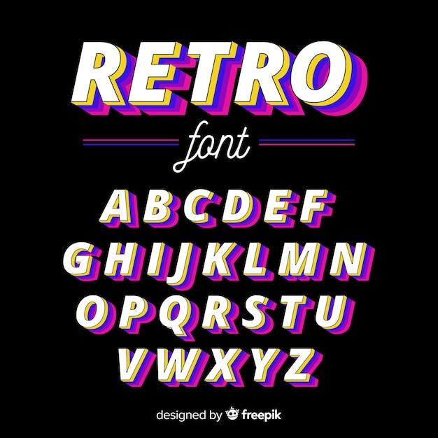 Vintage alphabet template flat design Free Vector
